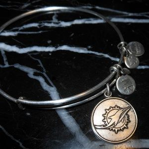 Alex And Ani Dolphin Miami NFL Charm Silver Bangle